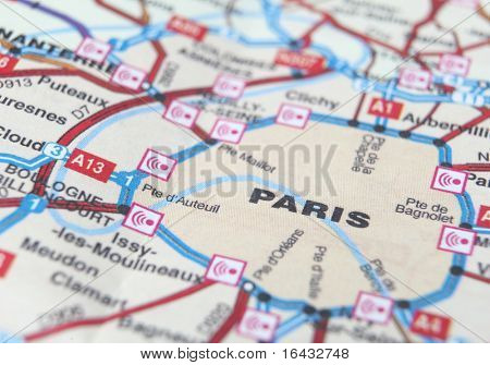 poster of Paris as a travel destination on a map