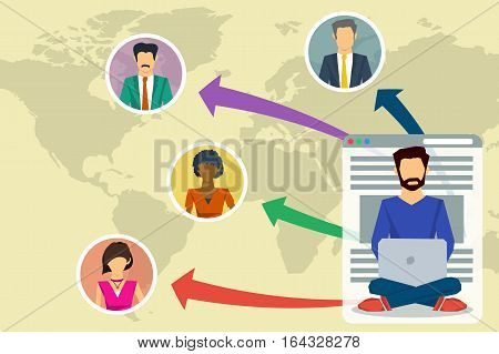 Vector business concept blogging chat online communication between people. Users around world read man blog.Concept the growth of popularity of the blog in flat style