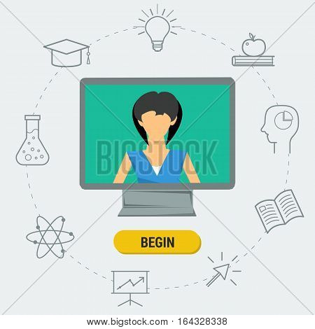 Vector concept online webinar e-learning professional lectures in internet online education or broadcasting. Woman lecturer on computer monitor with web elements in flat style. Web banner