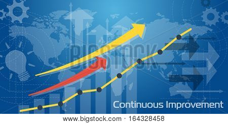 Vector business background. Long Banner Continuous Improvement with white and blue transparent elements arrows charts and world map graph earnings growth going up. Flat infographic
