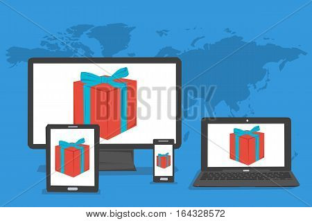 Vector concept bonus or present in internet and gift online. Gift red box on the screen of computer tablet laptop and smartphone on blue world map background in flat style