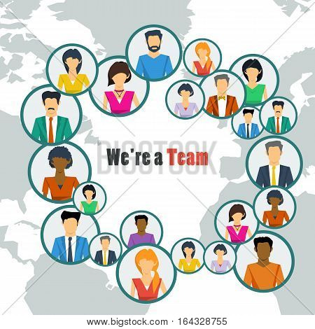 Vector concept world teamwork social network. Group of many various men and women working or communicate together successfully in flat style