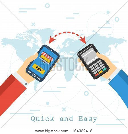 Hand with smartphone and online shop on screen second with atm terminal. Vector flat concept mobile banking contactless payment on map background. Safe transferring money and banking transaction