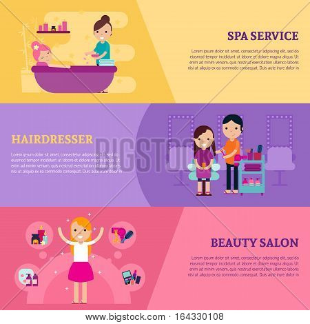 Beauty procedures flat horizontal banners with cosmetic stylish relaxing services and treatment vector illustration