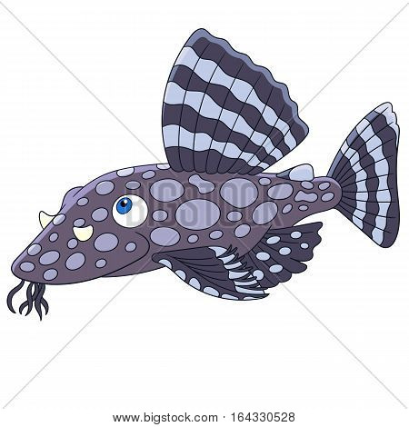 Cartoon catfish fish isolated on white background. Childish vector illustration and colorful book page for kids.