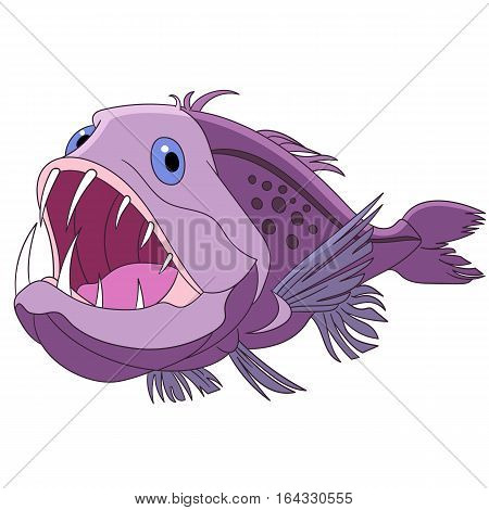 Cartoon angler fish isolated on white background. Childish vector illustration and colorful book page for kids.