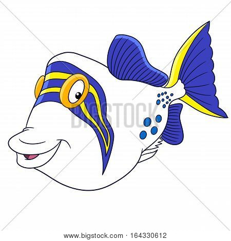 Cartoon triggerfish (trigger fish) isolated on white background. Childish vector illustration and colorful book page for kids.