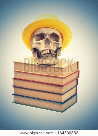 Skull In Yellow Hat On Books