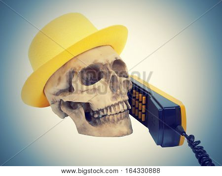Skull In Yellow Hat On Phone
