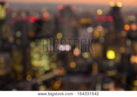 Blurred bokeh lights Osaka city downtown abstract background