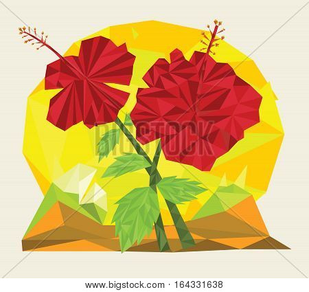 Hibiscus Flower in Triangulated Style Vector Illustration