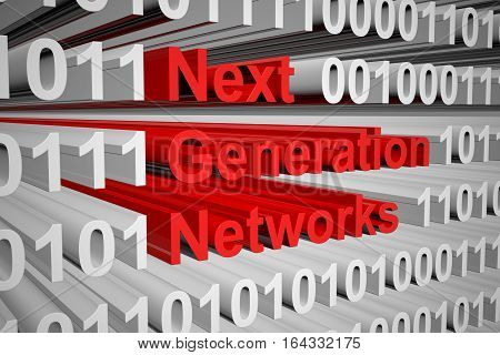 next generation networks in the form of binary code, 3D illustration