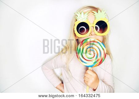 Little Girl In Pineapple Sunglasses And