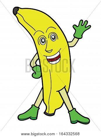 Banana Waving Hand Cartoon Character. Vector Illustration.