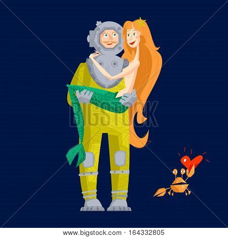 Deep sea diver and mermaid. St. Valentine's Day. Vector illustration