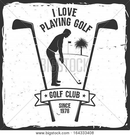 Golf club concept with golfer silhouette. Vector golfing club retro badge. Concept for shirt, print, seal or stamp. Typography design- stock vector.