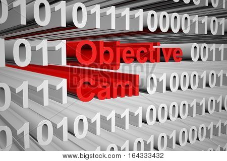 Objective Caml in the form of binary code, 3D illustration