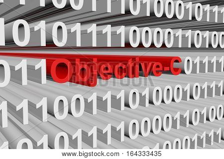 Objective-C is presented in the form of binary code 3d illustration