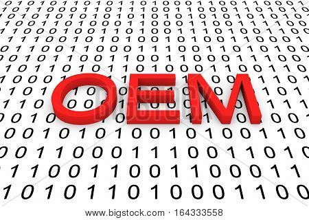 OEM in the form of binary code, 3D illustration
