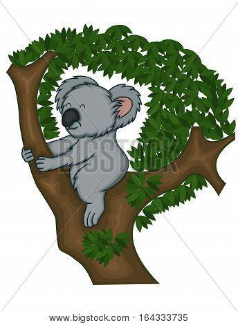 Koala Bear on Climbing Tree Cartoon Illustration