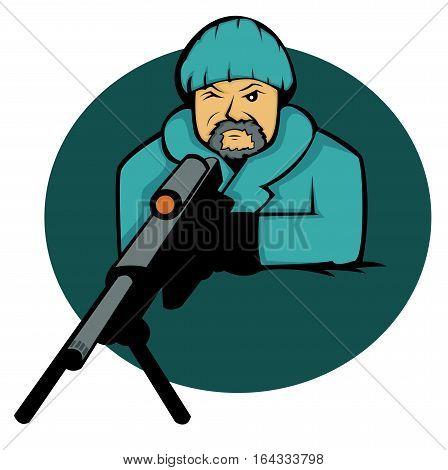 Sniper Aiming with Rifle Gun Cartoon Illustration