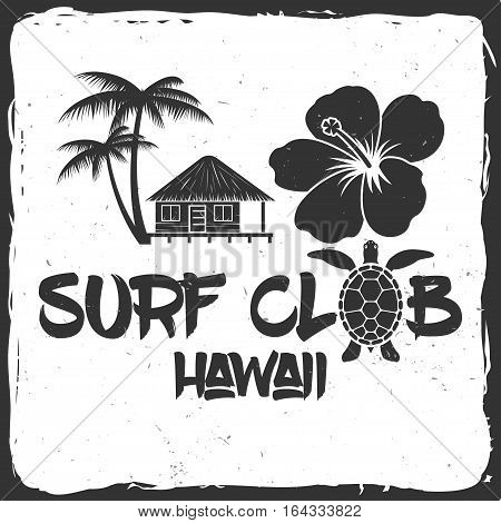 Vector Summer surfing retro badge. Surfing concept for shirt or logo, print, stamp. Turtle, hawaii.
