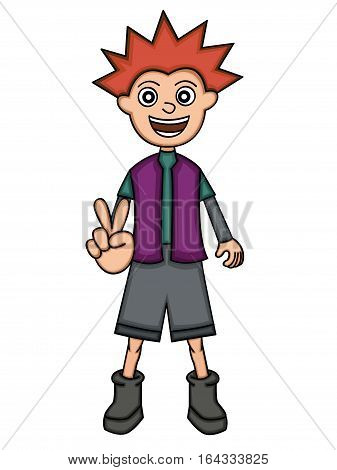 Spiky Funky Boy With Peace Fingers Gesture Cartoon Illustration