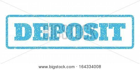 Light Blue rubber seal stamp with Deposit text. Vector caption inside rounded rectangular frame. Grunge design and unclean texture for watermark labels. Horisontal emblem on a white background.