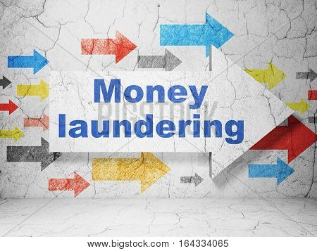 Money concept:  arrow with Money Laundering on grunge textured concrete wall background, 3D rendering