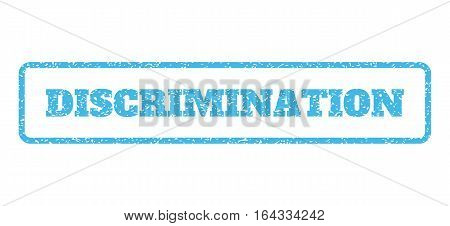 Light Blue rubber seal stamp with Discrimination text. Vector tag inside rounded rectangular shape. Grunge design and scratched texture for watermark labels. Horisontal emblem on a white background.
