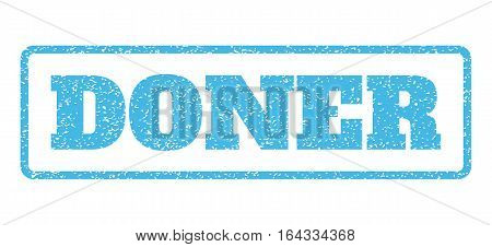 Light Blue rubber seal stamp with Doner text. Vector caption inside rounded rectangular frame. Grunge design and dirty texture for watermark labels. Horisontal sticker on a white background.