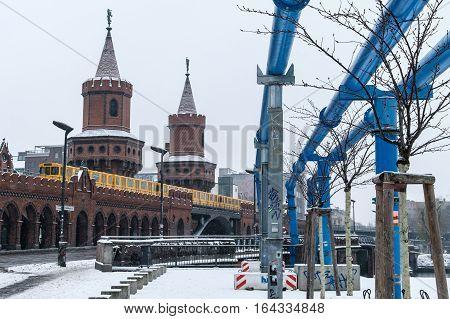 Oberbaum Bridge In Berlin During Winter