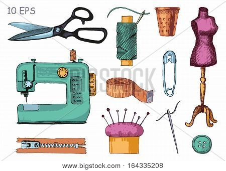 Tools and materials sewing and needlework. Vector sketch