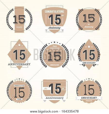 Fifteen years anniversary celebration logotype. 15th anniversary logo collection.
