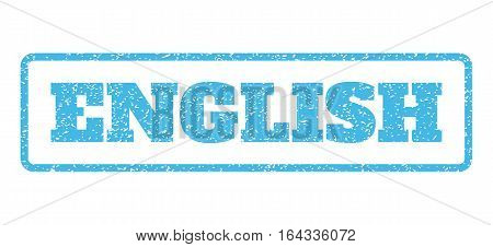 Light Blue rubber seal stamp with English text. Vector caption inside rounded rectangular banner. Grunge design and unclean texture for watermark labels. Horisontal emblem on a white background.