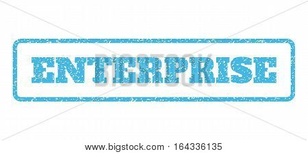 Light Blue rubber seal stamp with Enterprise text. Vector message inside rounded rectangular shape. Grunge design and scratched texture for watermark labels. Horisontal sticker on a white background.