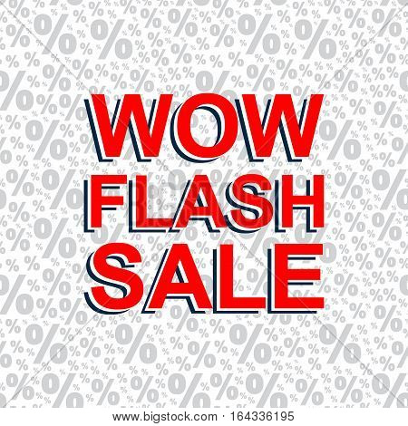 Red Sale Poster With Wow Flash Sale Text. Advertising Banner