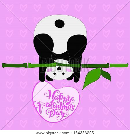design greeting card for valentine s day. panda. heart. black and white bear. vector. illustration