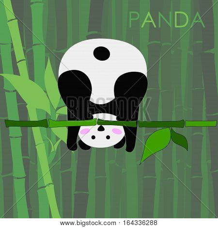 nice funny panda vector illustration with bamboo