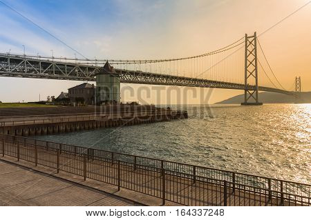 Akashi Kaikyo Bridge an the longest suspension bridge in Kobe Japan