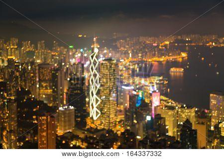 Blurred bokeh lights Hong Kong city night view abstract background