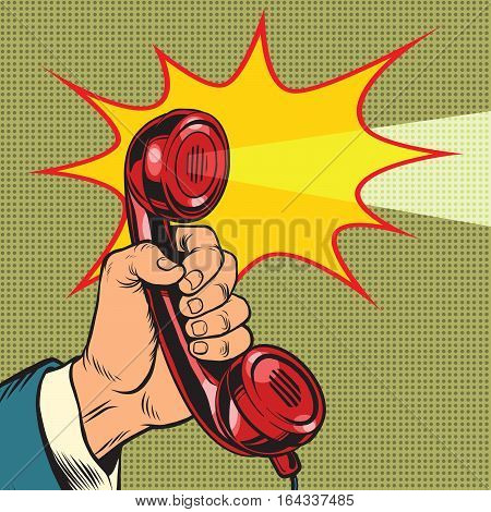 retro handset and light, pop art retro vector illustration