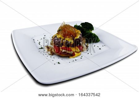 Beef with cheese and mustard sauce, España