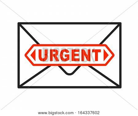 Urgent envelope icon with important stamped letter. Vector illustration.