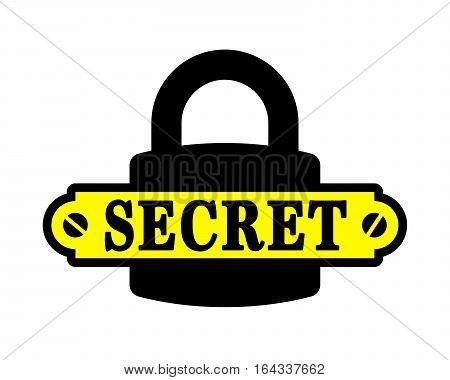 Padlock icon with secret written on tag. Vector illustration.