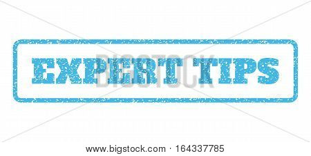 Light Blue rubber seal stamp with Expert Tips text. Vector message inside rounded rectangular frame. Grunge design and scratched texture for watermark labels. Horisontal sign on a white background.