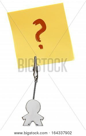 Man Figure Business Card Holder With Yellow Paper Note Questionmark