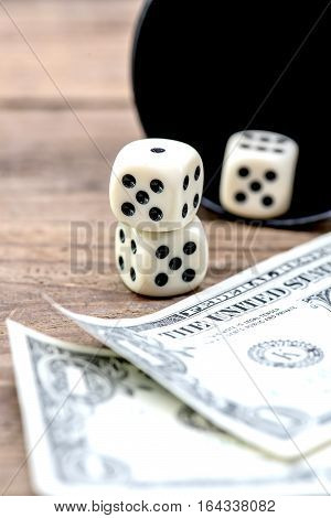 dice and gambling with money dollar currency