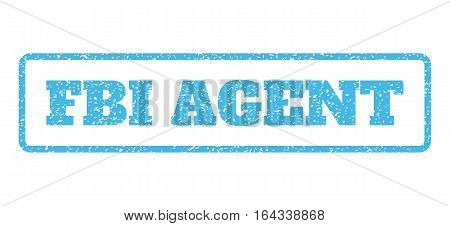 Light Blue rubber seal stamp with FBI Agent text. Vector tag inside rounded rectangular banner. Grunge design and unclean texture for watermark labels. Horisontal sticker on a white background.