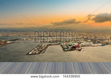 Osaka port cityscape downtown from Cosmo Tower Observatory Japan